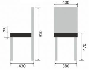 Размеры стульев на металлокаркасе
